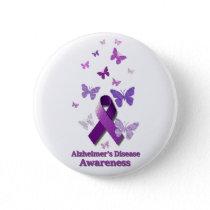 Purple Awareness Ribbon: Alzheimer's Disease Button