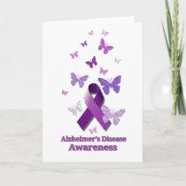 Purple Awareness Ribbon Alzheimer's Disease Card