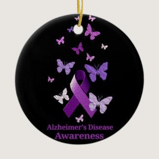 Purple Awareness Ribbon: Alzheimer's Disease Ceramic Ornament