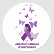 Purple Awareness Ribbon: Alzheimer's Disease Classic Round Sticker