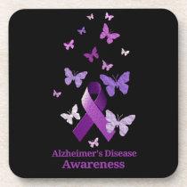Purple Awareness Ribbon: Alzheimer's Disease Coaster