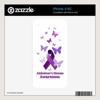 Purple Awareness Ribbon: Alzheimer's Disease Decals For The iPhone 4S