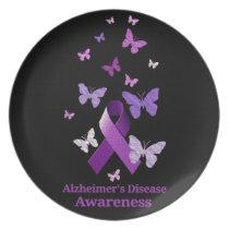 Purple Awareness Ribbon: Alzheimer's Disease Dinner Plate