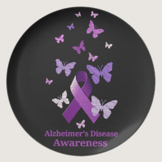 Purple Awareness Ribbon: Alzheimer's Disease Dinner Plate