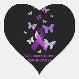 Purple Awareness Ribbon: Alzheimer's Disease Heart Sticker