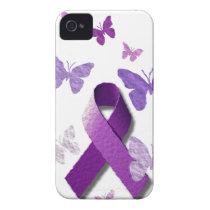 Purple Awareness Ribbon: Alzheimer's Disease iPhone 4 Case-Mate Case