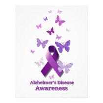 Purple Awareness Ribbon: Alzheimer's Disease Letterhead
