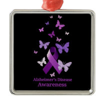 Purple Awareness Ribbon: Alzheimer's Disease Metal Ornament