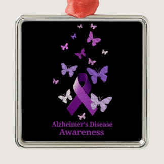 Purple Awareness Ribbon: Alzheimer's Disease Metal Ornament