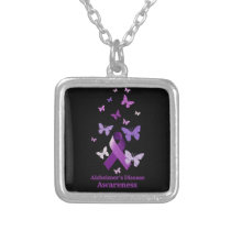 Purple Awareness Ribbon: Alzheimer's Disease Silver Plated Necklace