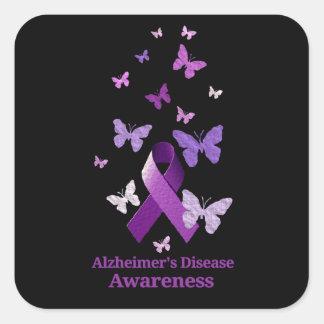 Purple Awareness Ribbon: Alzheimer's Disease Square Sticker