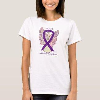 Purple Awareness Ribbon Angel Custom Cause Shirts
