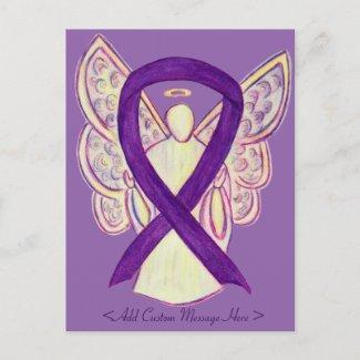 Purple Awareness Ribbon Angel Custom Postcard