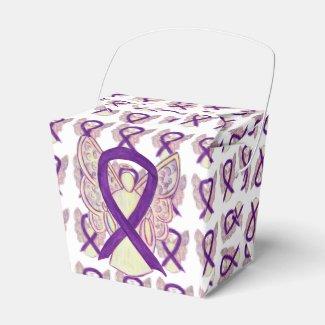 Purple Awareness Ribbon Angel Take Out Favor Boxes