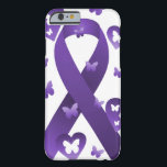 """Purple Awareness Ribbon Barely There iPhone 6 Case<br><div class=""""desc"""">Purple Awareness Ribbon,  support your loved ones and important cause with this ribbon</div>"""
