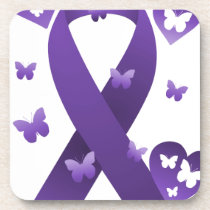 Purple Awareness Ribbon Beverage Coaster