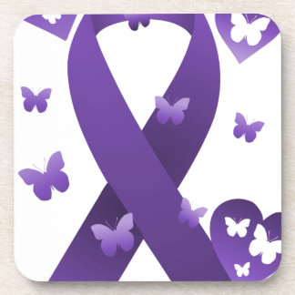 Purple Awareness Ribbon Beverage Coaster