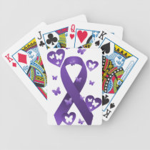 Purple Awareness Ribbon Bicycle Playing Cards