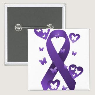 Purple Awareness Ribbon Button