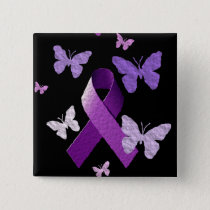 Purple Awareness Ribbon Button