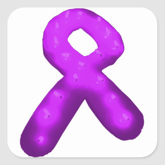 Purple Awareness Ribbon Candle Square Sticker