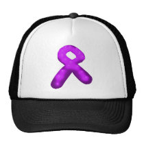 Purple Awareness Ribbon Candle Trucker Hat