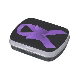Purple Awareness Ribbon Candy Tin
