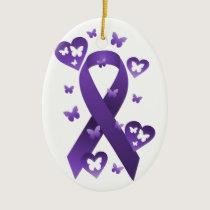 Purple Awareness Ribbon Ceramic Ornament