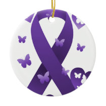 Purple Awareness Ribbon Ceramic Ornament