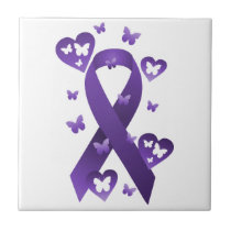 Purple Awareness Ribbon Ceramic Tile