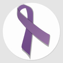Purple awareness ribbon classic round sticker