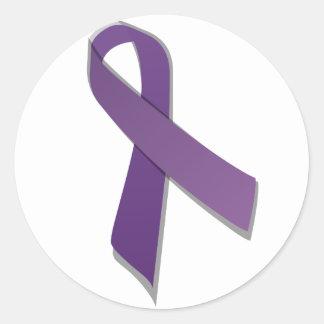 Purple awareness ribbon classic round sticker