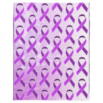 Purple Awareness Ribbon Comforting Fleece Blanket