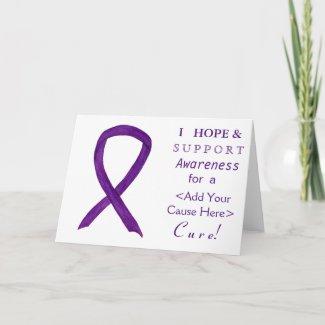 Purple Awareness Ribbon Custom Cause Note Cards