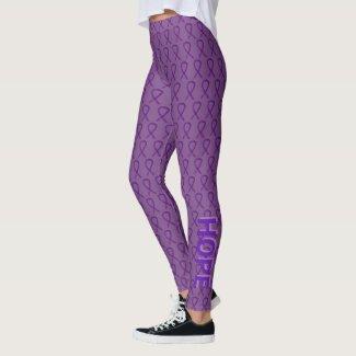 Purple Awareness Ribbon Custom Words Leggings