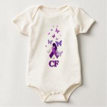 Purple Awareness Ribbon: Cystic Fibrosis Baby Bodysuit