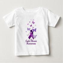 Purple Awareness Ribbon: Cystic Fibrosis Baby T-Shirt