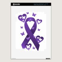Purple Awareness Ribbon Decal For iPad 3