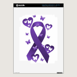 Purple Awareness Ribbon Decal For iPad 3