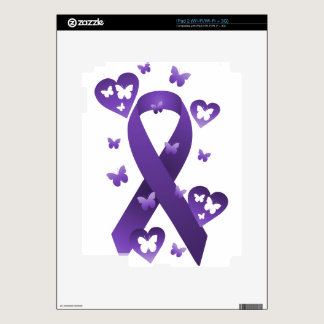 Purple Awareness Ribbon Decals For The iPad 2