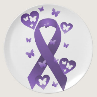 Purple Awareness Ribbon Dinner Plate