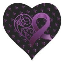 Purple Awareness Ribbon Elegant Heart Heart Sticker