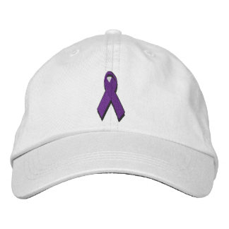 purple awareness ribbon embroidered hats