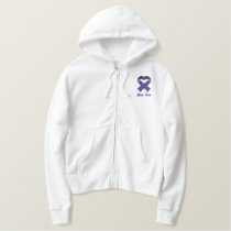 Purple Awareness Ribbon Embroidered Shirt