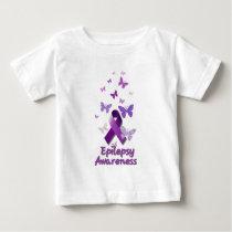 Purple Awareness Ribbon: Epilepsy Baby T-Shirt