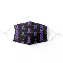 Purple Awareness Ribbon Fighter Adult Cloth Face Mask