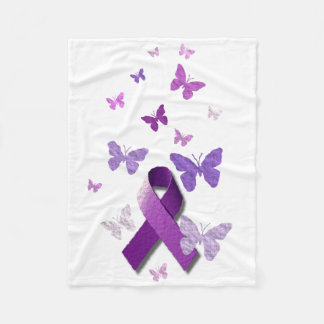 Purple Awareness Ribbon Fleece Blanket