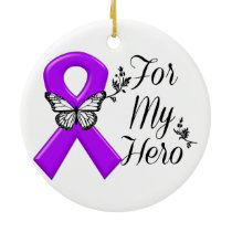 Purple Awareness Ribbon For My Hero Ceramic Ornament