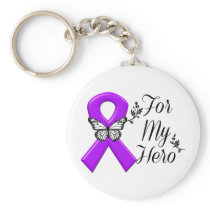 Purple Awareness Ribbon For My Hero Keychain