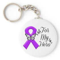 Purple Awareness Ribbon For My Hero Keychain